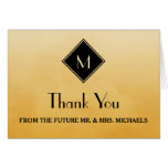 Elegant Simple Yellow With Gold Monogram Thank You Card