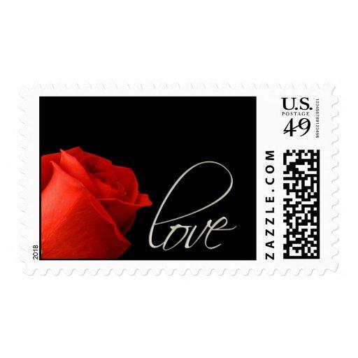 Elegant single red rose love postage