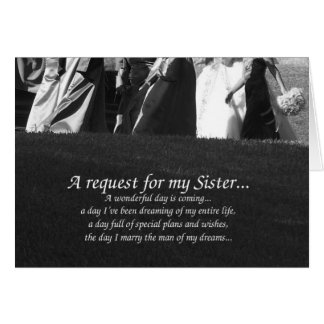 Elegant Sister Maid of Honor Request Card
