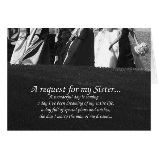 Elegant Sister Matron of Honor Request Card