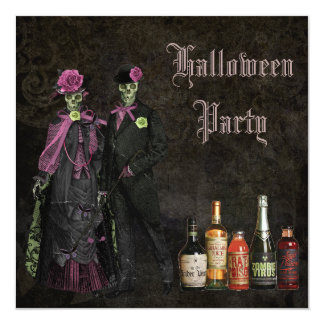 Elegant Skeletons & Poison Halloween Party Card