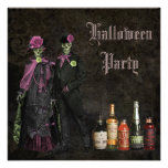 Elegant Skeletons & Poison Halloween Party Announcement