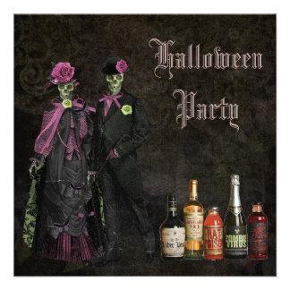 Elegant Skeletons Poison Halloween Party Announcement