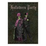 Elegant Skeletons Shabby Chic Damask Halloween Invitations