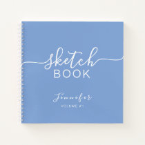 Elegant Sketchbook Your Name Script Dusty Blue Notebook