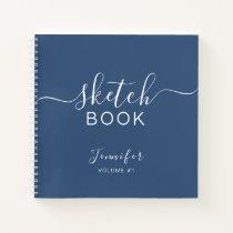 Elegant Sketchbook Your Name Script Navy Blue Notebook