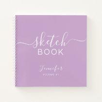 Elegant Sketchbook Your Name Script Purple Notebook