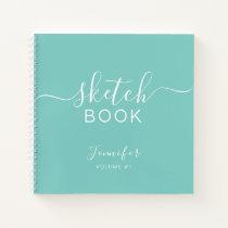 Elegant Sketchbook Your Name Script Teal Blue Notebook