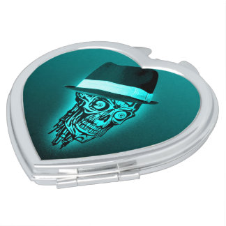 elegant skull with hat,mint (C) Mirrors For Makeup