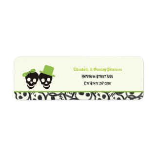 Elegant skulls Halloween green wedding label