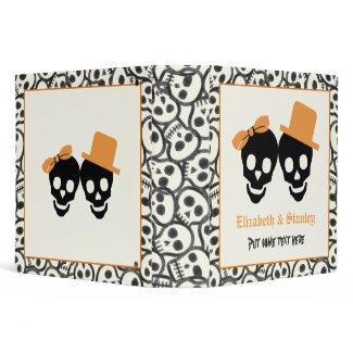 Elegant skulls Halloween orange wedding binder binder