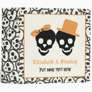 Elegant skulls Halloween orange wedding binder