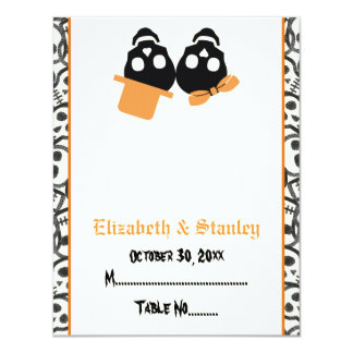 Elegant skulls Halloween orange wedding place card