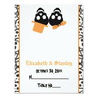 Elegant skulls Halloween orange wedding place card