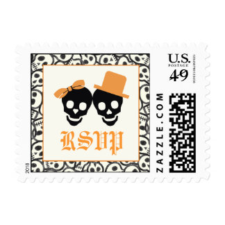 Elegant skulls Halloween orange wedding RSVP stamp