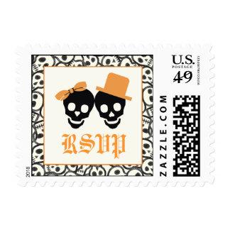 Elegant skulls Halloween orange wedding RSVP stamp