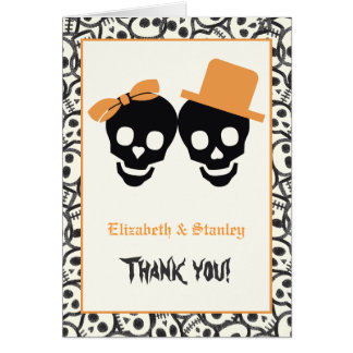 Elegant skulls Halloween orange wedding Thank You Card