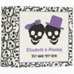 Elegant skulls Halloween purple wedding binder Vinyl Binders