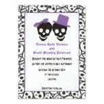 Elegant skulls Halloween purple wedding invitation Personalized Announcement