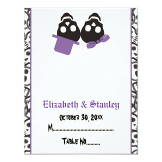 Elegant skulls Halloween purple wedding place card