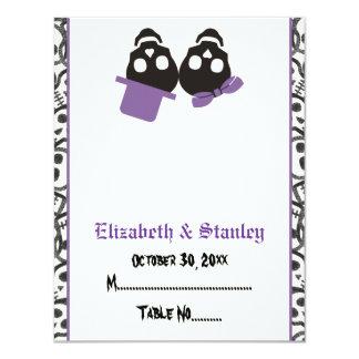 Elegant skulls Halloween purple wedding place card