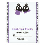 Elegant skulls Halloween purple wedding place card Personalized Invitation
