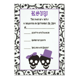 Elegant skulls Halloween purple wedding RSVP card