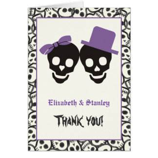 Elegant skulls Halloween purple wedding Thank You Card