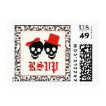 Elegant skulls Halloween red wedding RSVP stamp