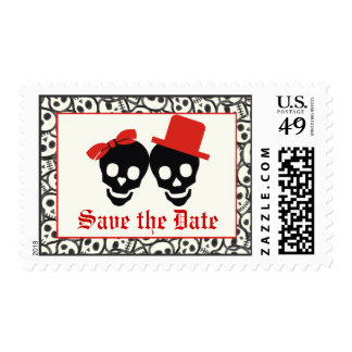 Elegant skulls Halloween red wedding Save the Date Postage