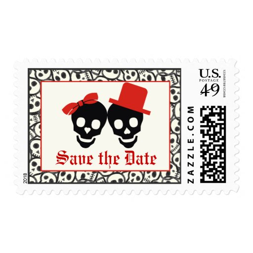 Elegant Skulls Halloween Red Wedding Save The Date Postage