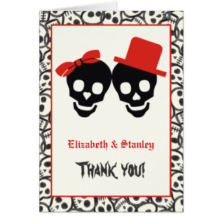 Elegant skulls Halloween red wedding Thank You Card