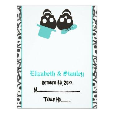 Halloween Themed Elegant skulls Halloween turquoise place card