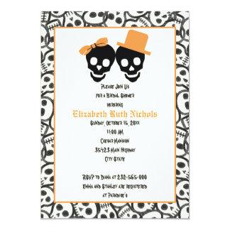 Elegant skulls Halloween wedding bridal shower 5x7 Paper Invitation Card
