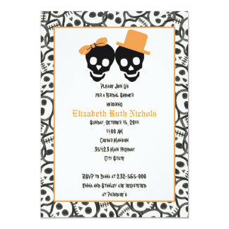 Elegant skulls Halloween wedding bridal shower Card