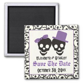 Elegant skulls Halloween wedding Save the Date 2 Inch Square Magnet