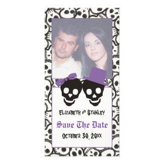 Elegant skulls Halloween wedding Save the Date Card