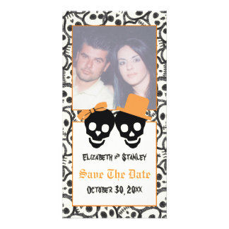 Elegant skulls Halloween wedding Save the Date Card