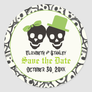 Elegant skulls Halloween wedding Save the Date Classic Round Sticker