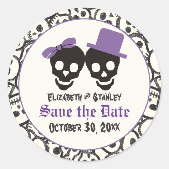 Elegant skulls Halloween wedding Save the Date Classic Round Sticker