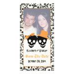 Elegant skulls Halloween wedding Save the Date Custom Photo Card