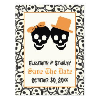 Elegant skulls Halloween wedding Save the Date Postcard