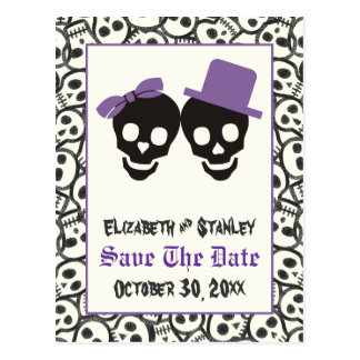 Elegant skulls Halloween wedding Save the Date Postcard