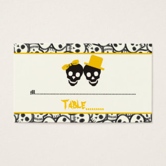 Elegant skulls Halloween yellow wedding place card