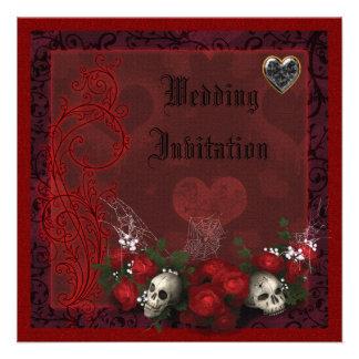 Elegant Skulls Roses Hearts Linen Wedding Personalized Announcement
