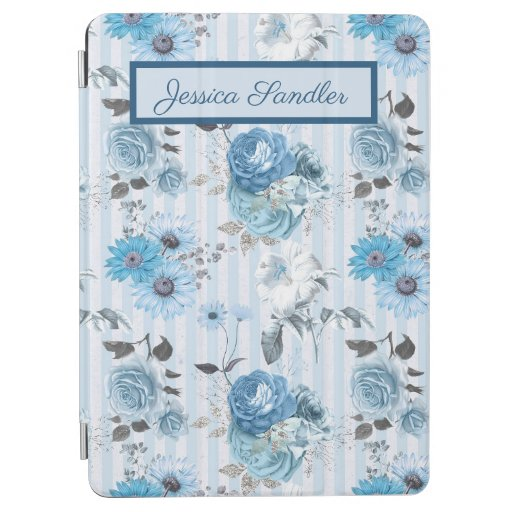Elegant Sky Blue Roses on Blue and White Stripes iPad Air Cover