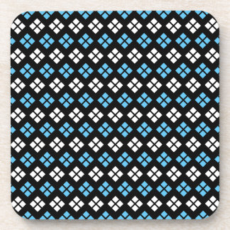 Elegant Sky Blue & White Argyle Pattern on Black Beverage Coaster