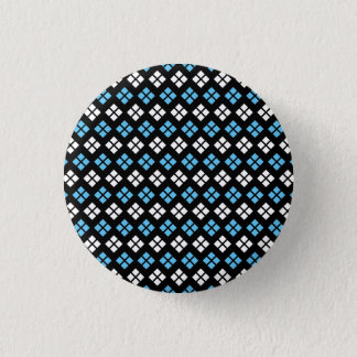 Elegant Sky Blue & White Argyle Pattern on Black Button