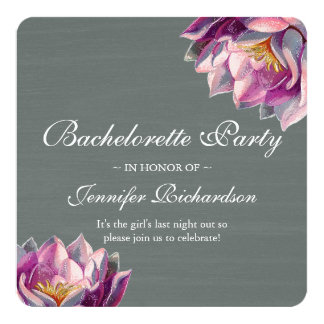 Elegant Slate and Floral Bachelorette Party Card