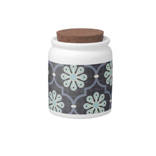 Elegant Slate Blue Abstract Floral Candy Jars